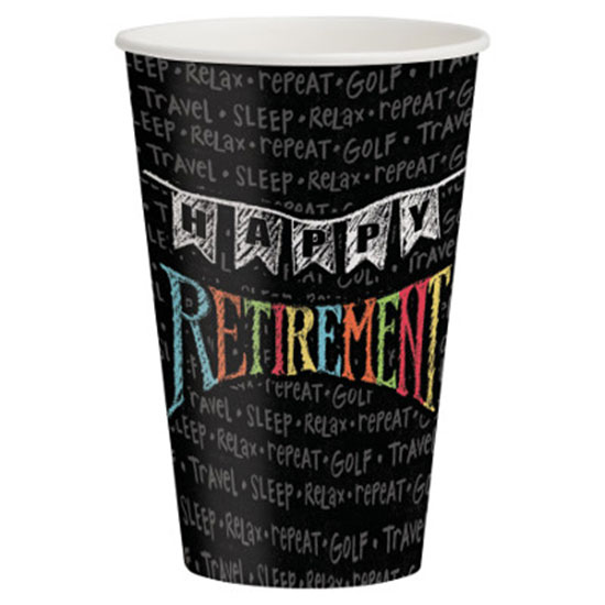 RETIREMENT CHALK PAPER 12 OZ CUPS PARTY SUPPLIES