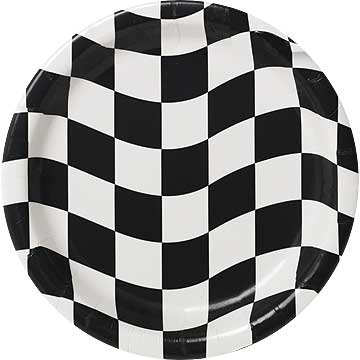 Click for larger picture of BLACK & WHITE CHECK DESSERT PLATE 8/PKG PARTY SUPPLIES