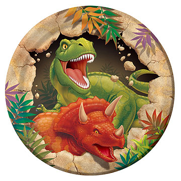 Click for larger picture of DINO BLAST DESSERT PLATE (96/CS) PARTY SUPPLIES