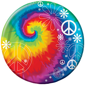 Click for larger picture of TIE DYE FUN DESSERT PLATE (96/CS) PARTY SUPPLIES