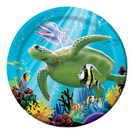 Click for larger picture of OCEAN PARTY DESSERT PLATES (96/CS) PARTY SUPPLIES