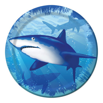 Click for larger picture of SHARK SPLASH DESSERT PLATE PARTY SUPPLIES