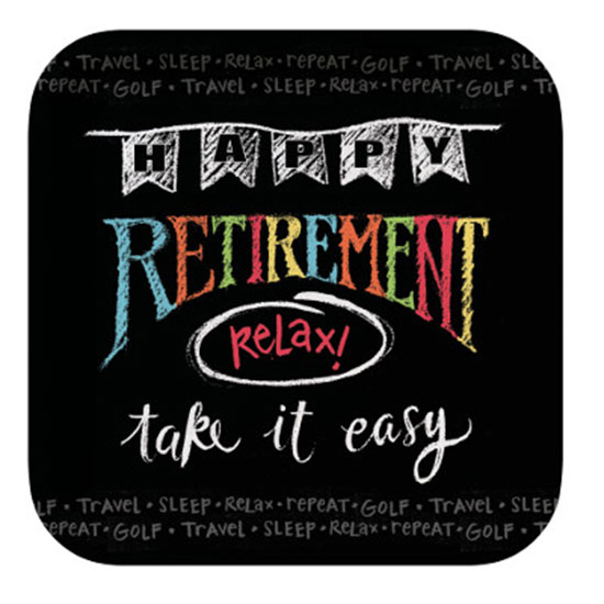 RETIREMENT CHALK DESSERT PLATE PARTY SUPPLIES