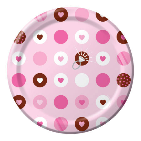 Click for larger picture of BRIDE 2 BE DOTS DESSERT PLATE (96/CS) PARTY SUPPLIES