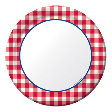 Click for larger picture of DISCONTINUED GINGHAM FUN DINNER PLATE PARTY SUPPLIES