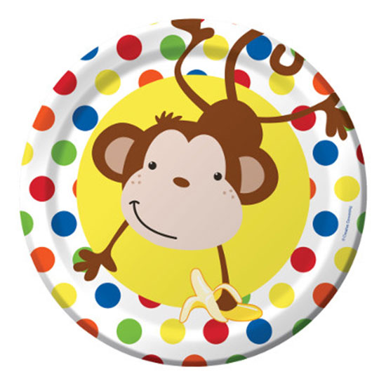 DISCONTINUED FUN MONKEY DINNER PLATE PARTY SUPPLIES