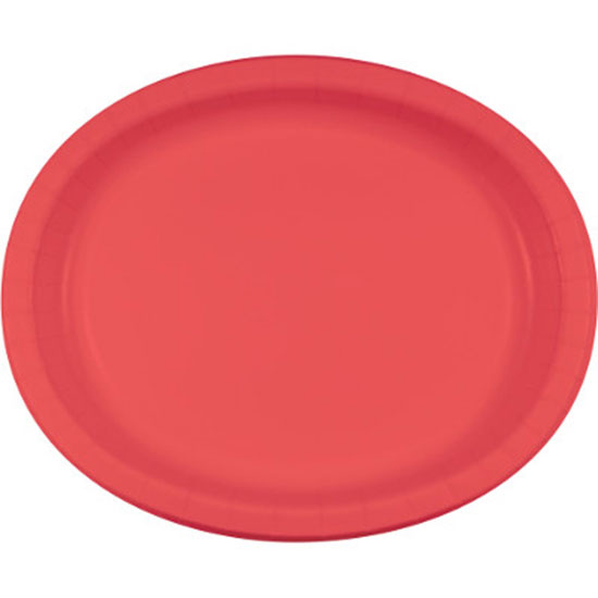 CORAL OVAL PLATTER 10X12 INCH PARTY SUPPLIES
