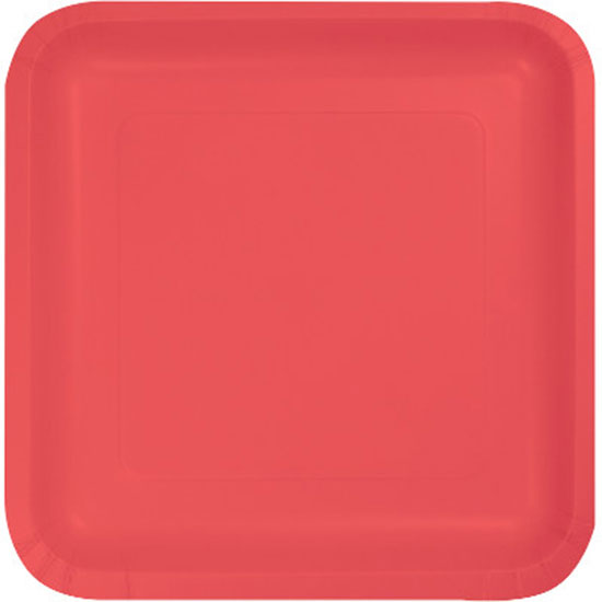 CORAL 7 INCH SQUARE PAPER PLATE PARTY SUPPLIES