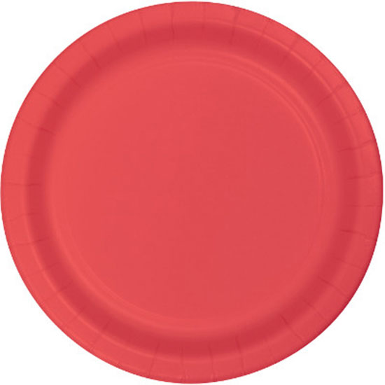 CORAL 9 INCH PAPER PLATE PARTY SUPPLIES