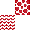 CHEVRON/DOTS-RED BEVERAGE NAPKIN PARTY SUPPLIES