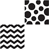 DISCONTINUED CHEVRON/DOTS-BLACK BEV NAP PARTY SUPPLIES