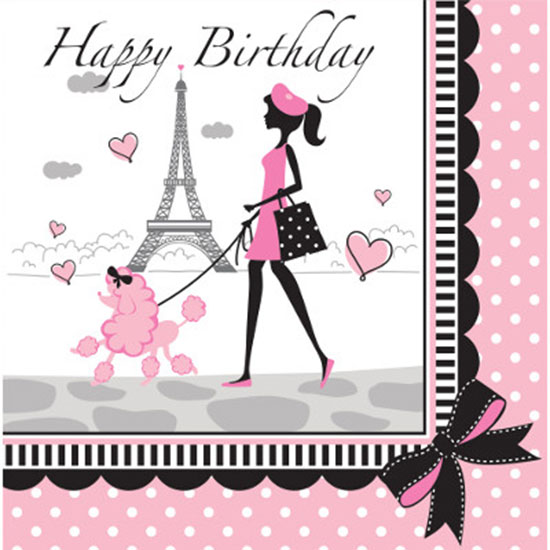 PARTY IN PARIS LUNCH NAPKIN BIRTHDAY PARTY SUPPLIES
