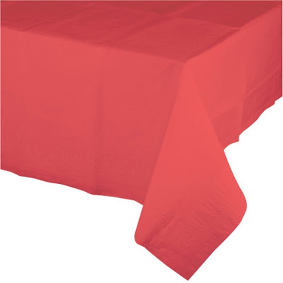 CORAL PAPER 54X108 INCH TABLECOVER PARTY SUPPLIES