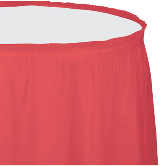 CORAL PLASTIC TABLESKIRT PARTY SUPPLIES