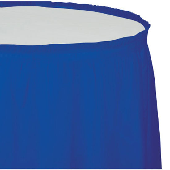 Click for larger picture of COBALT PLASTIC TABLESKIRT PARTY SUPPLIES