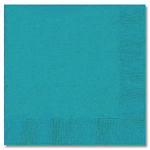 Click for larger picture of TURQUOISE 3 PLY BEVERAGE NAPKIN (500/CS) PARTY SUPPLIES