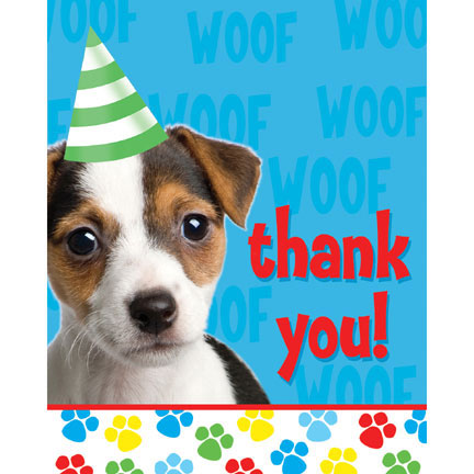 Click for larger picture of DISCONTINUED PAW-TY TIME! THANK YOU PARTY SUPPLIES