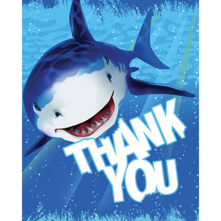 Click for larger picture of SHARK SPLASH THANK YOU PARTY SUPPLIES