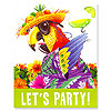 DISCONTINUED CARIBBEAN PARROT INVITATION PARTY SUPPLIES