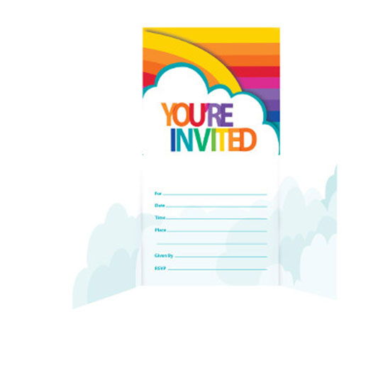 RAINBOW PARTY INVITATION PARTY SUPPLIES