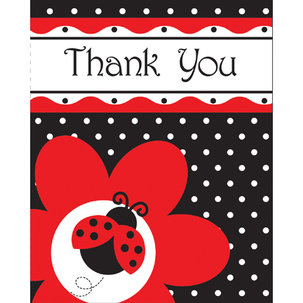 Click for larger picture of LADYBUG FANCY THANK YOU PARTY SUPPLIES