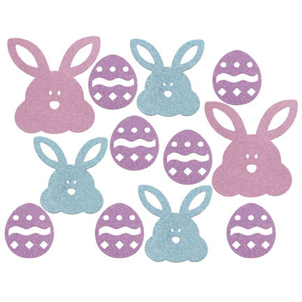 Click for larger picture of EASTER EGGS MINI GLITTER D�COR (72/CS) PARTY SUPPLIES