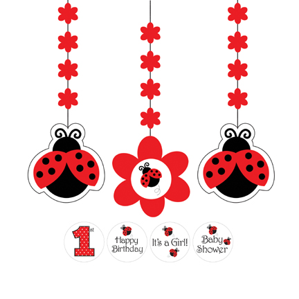 Click for larger picture of LADYBUG FANCY HANGING CUTOUTS GIRL PARTY SUPPLIES