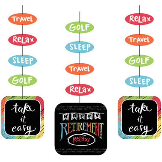 RETIREMENT CHALK HANGING CUTOUTS PARTY SUPPLIES