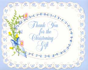 Click for larger picture of CHRISTENING THANK YOU NOTE BOY (25 CT) PARTY SUPPLIES