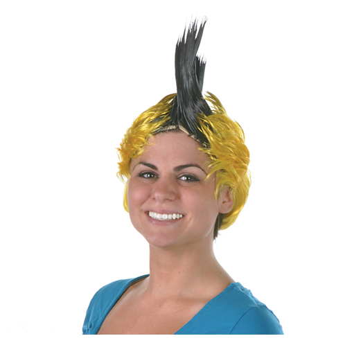 Click for larger picture of BLACK & GOLD MOHAWK WIG PARTY SUPPLIES