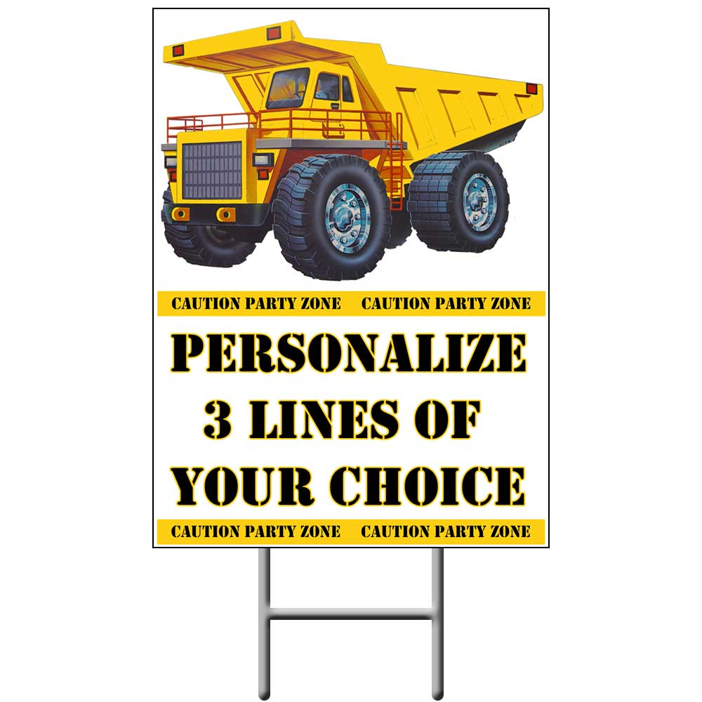 Click for larger picture of CONSTRUCTION ZONE YARD SIGN PARTY SUPPLIES