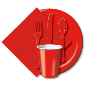 BULK RED TABLEWARE