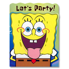 Click for larger picture of SPONGE BOB INVITATIONS PARTY SUPPLIES