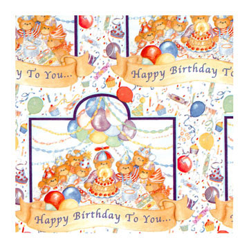 Click for larger picture of TEDDY BEAR ROLL WRAP PARTY SUPPLIES