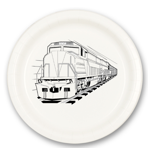 Click for larger picture of DIESEL TRAIN DESSERT PLATE PARTY SUPPLIES