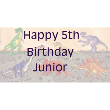 Click for larger picture of PERSONALIZED DINOSAUR BANNER 18X36 IN. PARTY SUPPLIES