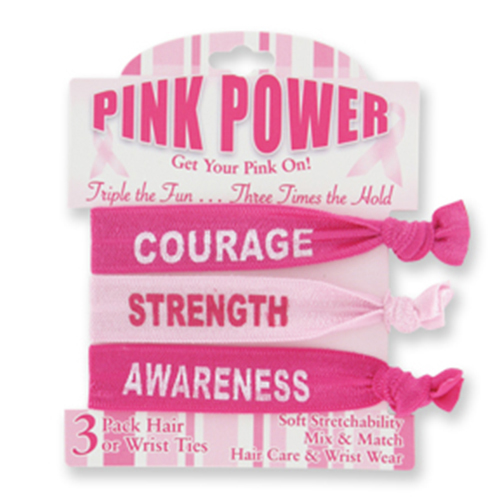 BREAST CANCER WRIST OR HAIR TIES 3/PK PARTY SUPPLIES