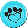 DOG LOVE BLUE DESSERT PLATE(8/PKG) PARTY SUPPLIES