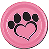 DOG LOVE PINK DESSERT PLATE(8/PKG) PARTY SUPPLIES
