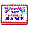 21ST BIRTHDAY BALLOON EDIBLE ICING ART PARTY SUPPLIES