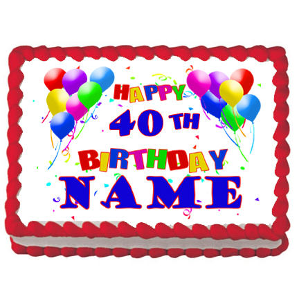Click For Larger Picture Of 40TH BIRTHDAY BALLOON EDIBLE ICING ART PARTY SUPPLIES