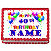 40TH BIRTHDAY BALLOON EDIBLE ICING ART PARTY SUPPLIES