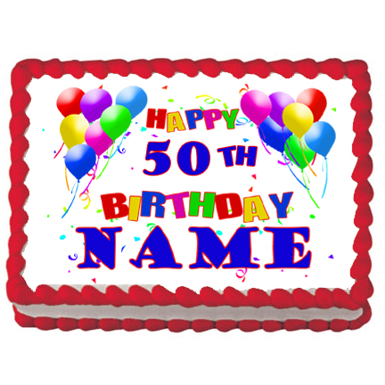 Click For Larger Picture Of 50TH BIRTHDAY BALLOON EDIBLE ICING ART PARTY SUPPLIES