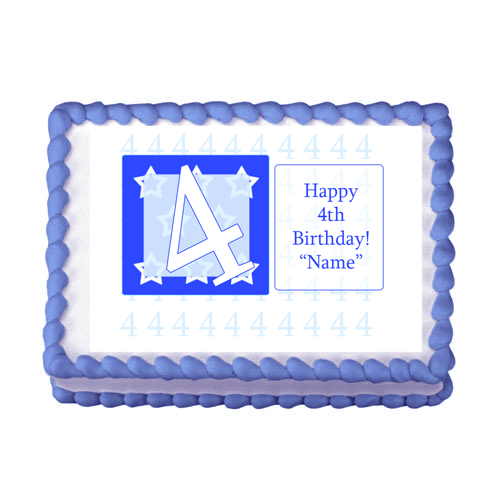 4TH BIRTHDAY BLUE EDIBLE IMAGE PARTY SUPPLIES