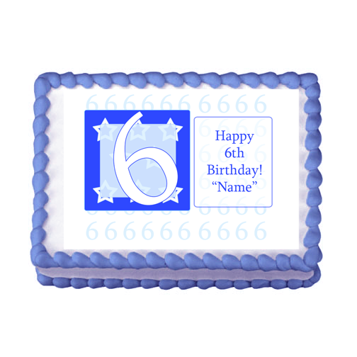 6TH BIRTHDAY BLUE EDIBLE IMAGE PARTY SUPPLIES