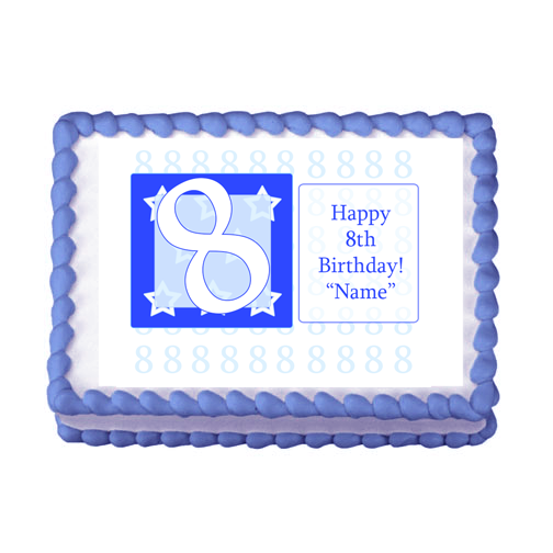 8TH BIRTHDAY BLUE EDIBLE IMAGE PARTY SUPPLIES