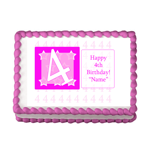 4TH BIRTHDAY PINK EDIBLE IMAGE PARTY SUPPLIES