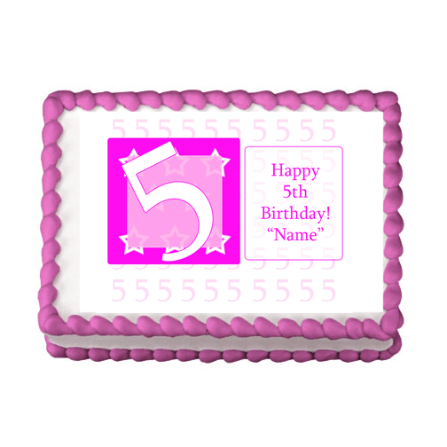 5TH BIRTHDAY PINK EDIBLE IMAGE PARTY SUPPLIES