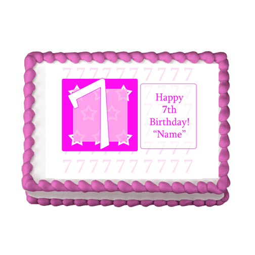 7TH BIRTHDAY PINK EDIBLE IMAGE PARTY SUPPLIES