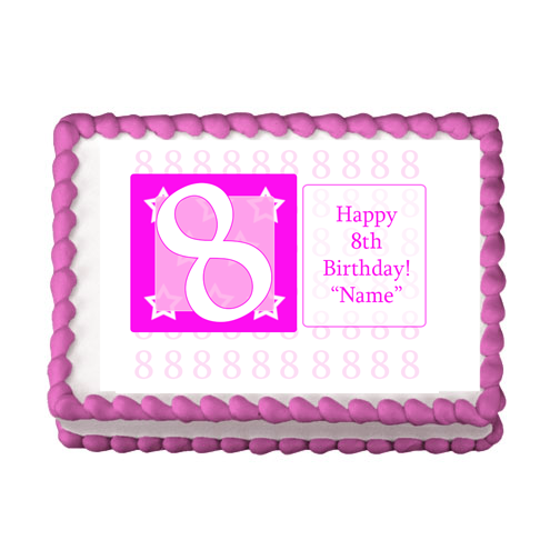 8TH BIRTHDAY PINK EDIBLE IMAGE PARTY SUPPLIES